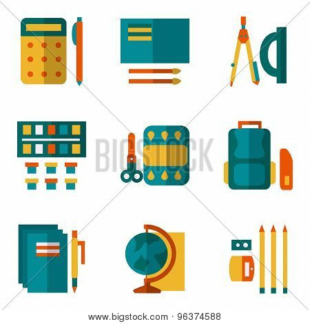 Simple color vector icons set for school supplies