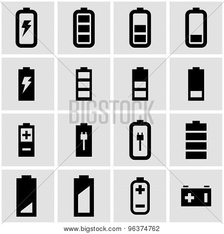 Vector Black Battery Icon Set