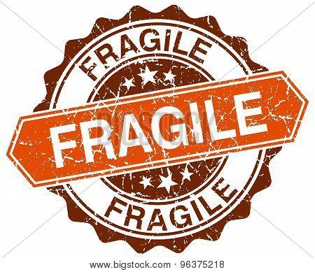 Fragile Orange Round Grunge Stamp On White