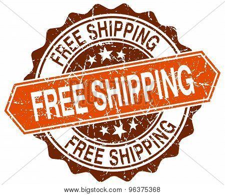 Free Shipping Orange Round Grunge Stamp On White