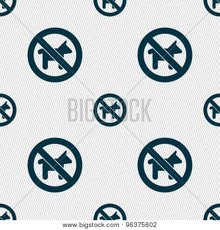 Dog Walking Is Prohibited Icon Sign. Seamless Pattern With Geometric Texture. Vector