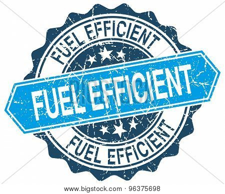 Fuel Efficient Blue Round Grunge Stamp On White