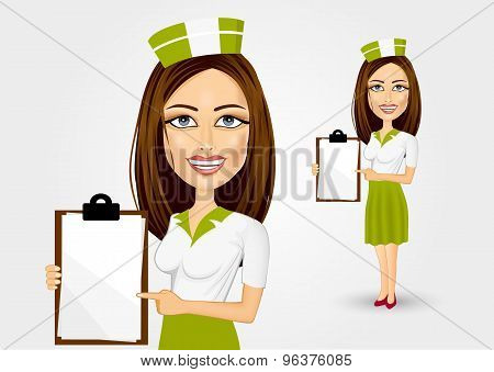 beautiful waitress pointing to menu