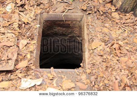 Entrance Of A Tunnel At Cu Chi Tunnels, Vietnam