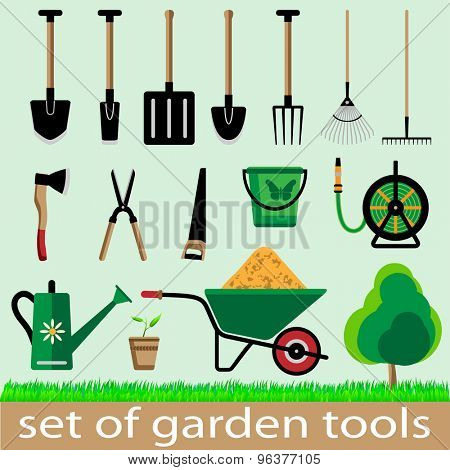 Set of garden tools. Icon. illistration.