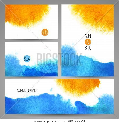 watercolor sea background poster or card template vector art