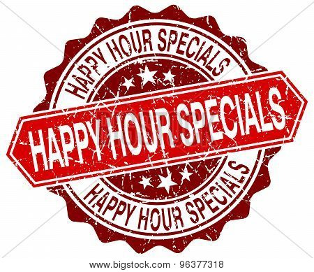 Happy Hour Specials Red Round Grunge Stamp On White