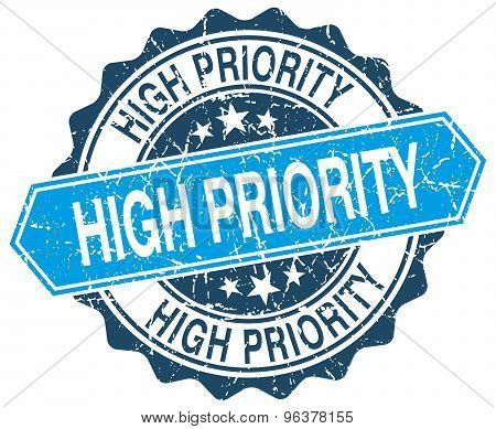 High Priority Blue Round Grunge Stamp On White