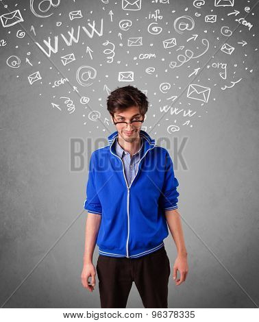 Casual young man with abstract white media icon doodles on gradient background