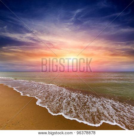 Nice evening scene with sunset over sea