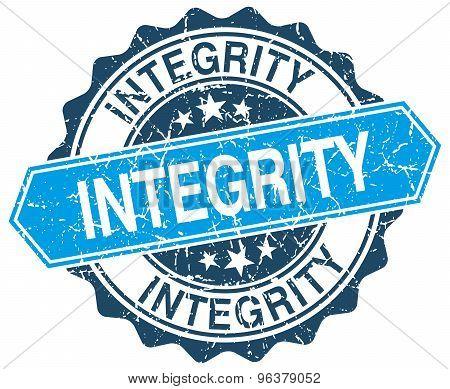 Integrity Blue Round Grunge Stamp On White