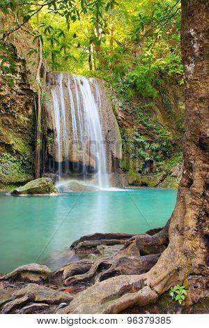 Beautiful Erawan Waterfall in Erawan National Park, Kanchanaburi, Thailand