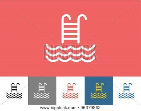 Pool vector icon isolated. Waves, Summer or Stairs and Vacation symbol. Stock design element