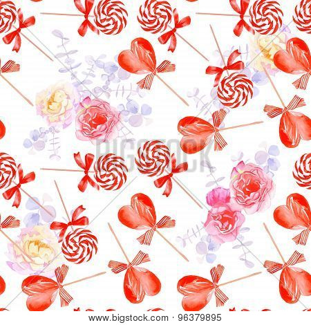 Romantic Candy With Bows Seamless Vector Print