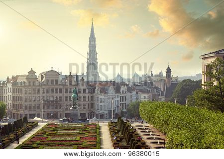 Sunset on Monts des Arts in Brussels, Belgium