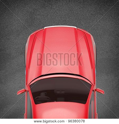 Red car on grey texture background