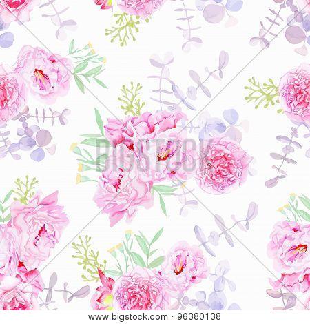 Sweet Purple Peonies Seamless Vector Print