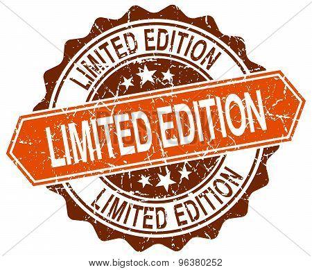 Limited Edition Orange Round Grunge Stamp On White