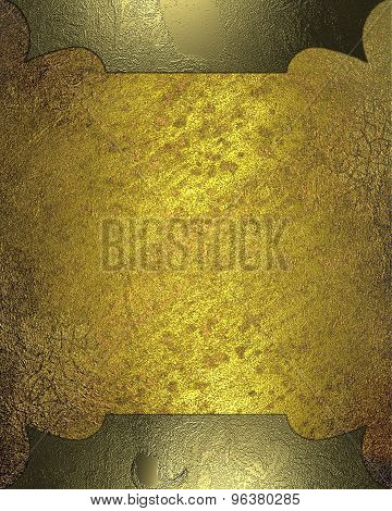 Grunge Yellow Background With A Metal Frame. Element For Design. Template For Design. Abstract Grung