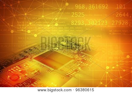 Motherboard on abstract colorful background