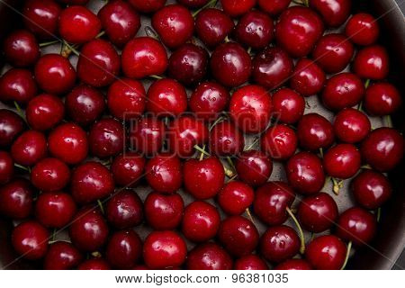 Top view of fresh red cherry with water drops