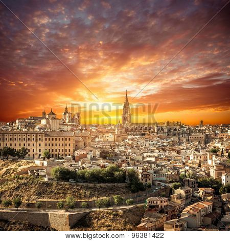 Toledo over sunset. medieval town in Spain
