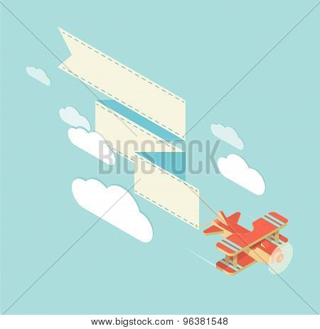 Biplane With Ribbon Square