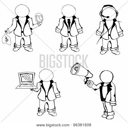 Drawn puppet people. Vector illustration