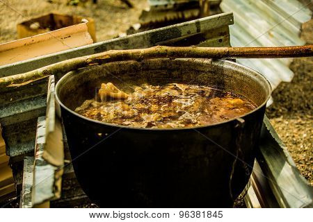 Cooking goulash outdoors