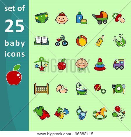 Multi-colored children icons