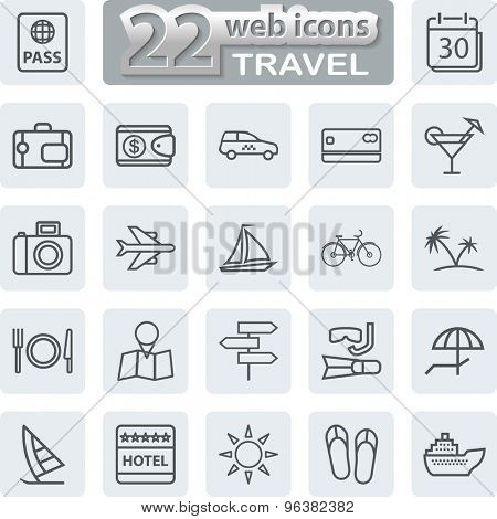 Travel Symbols and Tourism Icons. Modern Web Collection Isolated on white background. Illustration. Vector EPS10.