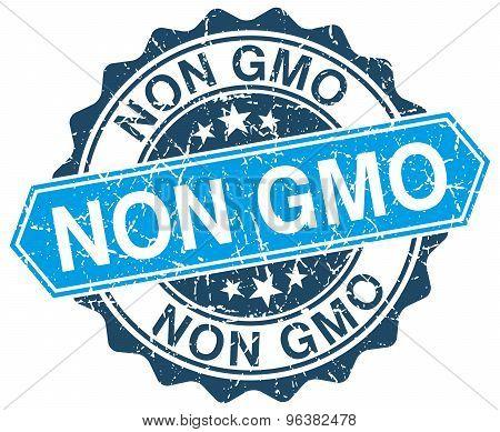 Non Gmo Blue Round Grunge Stamp On White