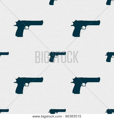 Gun Icon Sign. Seamless Pattern With Geometric Texture. Vector