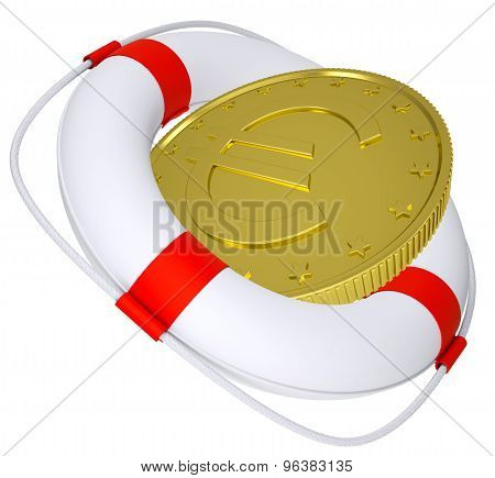 Lifebuoy with golden euro