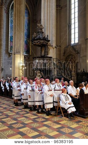 ZAGREB, CROATIA - JULY 19: Participants in the 49th International Folklore Festival at Sunday Mass in the Zagreb cathedral, Croatia on July 19, 2015