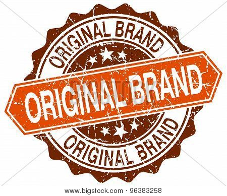 Original Brand Orange Round Grunge Stamp On White