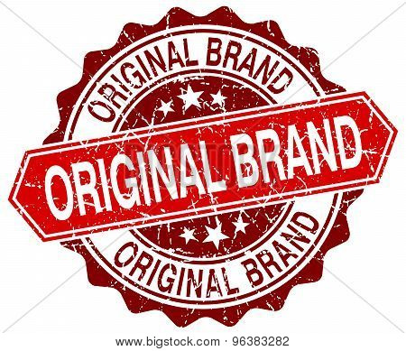 Original Brand Red Round Grunge Stamp On White