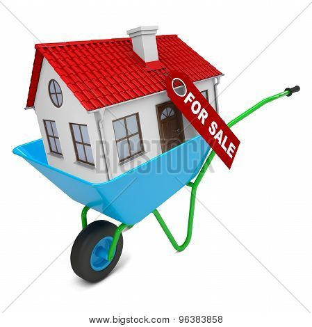 House with red roof in hand-barrow