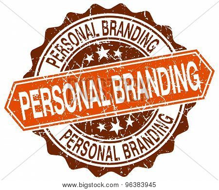 Personal Branding Orange Round Grunge Stamp On White
