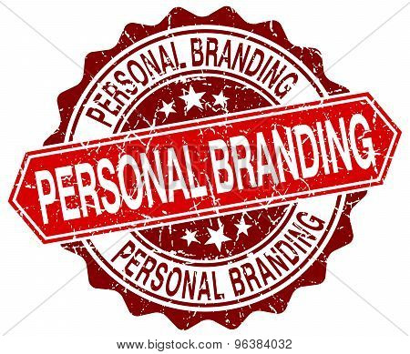 Personal Branding Red Round Grunge Stamp On White