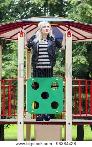 Adult Girl On The Playground