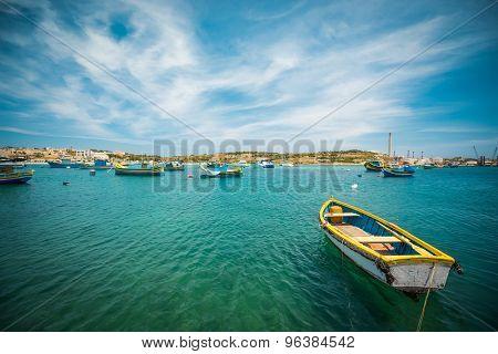 fishing boat near fishing village of Marsaxlokk (Marsascala) in Malta