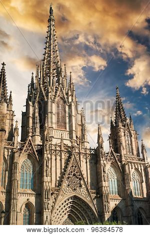 Cathedral of the Holy Cross and Saint Eulalia at sunset in Barcelona, Spain