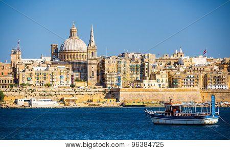 beautiful view on Valletta architecture from the sea in Malta
