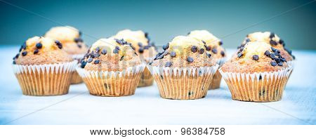 plenty of sweet delicious muffins with chocolate drops