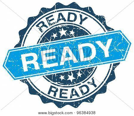 Ready Blue Round Grunge Stamp On White