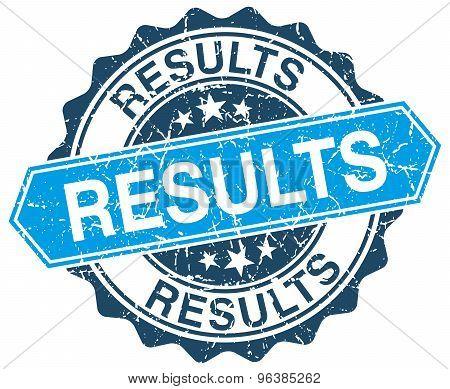 Results Blue Round Grunge Stamp On White