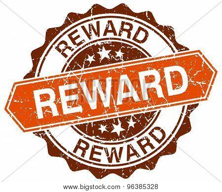 Reward Orange Round Grunge Stamp On White