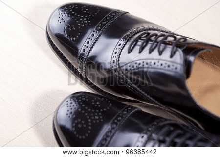 Closeup Of Brand New Fahionable Male Classic Oxford Semi-brogue Shoes