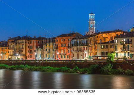 Adige River Embankment in Verona, Italy